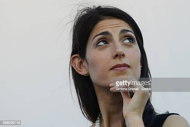 The mayor of Rome Virginia Raggi participates at the party of the newspaper Il Fatto Quotidiano on August 28 2016 in Rome Italy