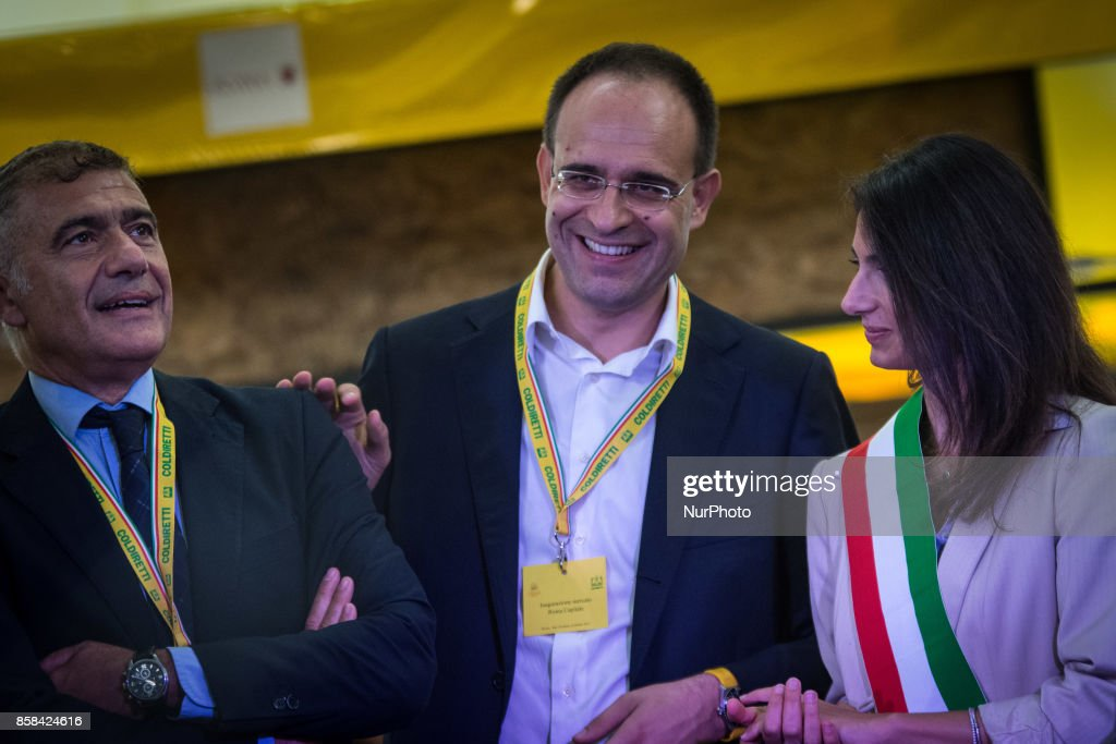 The mayor of Rome, Virginia Raggi (R), participates in the inauguration of the Farmer's Market of San Teodoro at Circus Maximus on 6 October 2017 in Rome, Italy.