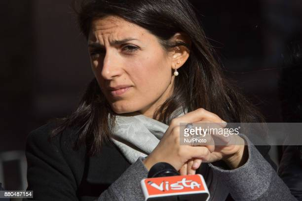 The Mayor of Rome Virginia Raggi presents the new differentiated collection technology model in the Jewish quarter of Rome November 27 2017 in Rome...