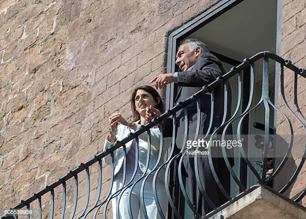 The mayor of Rome Virginia Raggi receives the AS Roma's president James Pallotta on september 14 2016