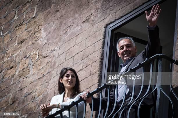 The mayor of Rome Virginia Raggi receives the President of AS Roma James Pallotta to discuss the stadium issue in Campidoglio Palace