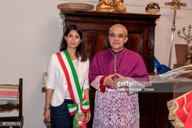 The Mayor of Rome Virginia Raggi with Archbishop Filippo Iannone during for the Solemn celebrations and procession in honor of Madonna del Carmine...