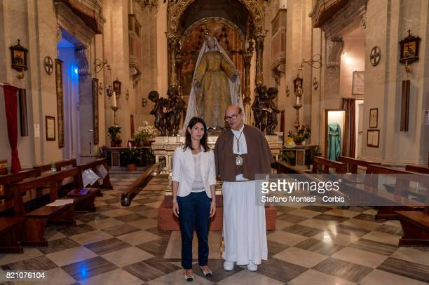 The Mayor of Rome Virginia Raggi with the Peter Solfizi governor of the Venerable Brotherhood of the Blessed Sacrament and Maria del Carmine in...