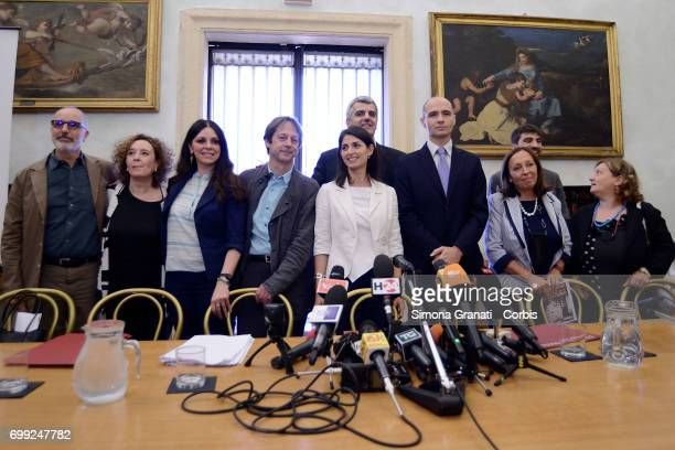 The Mayor of Rome Virginia Raggi with the Town Council during '#RomaRinasce One Year of Results and Future Goals' Press Conference on June 21 2017 in...