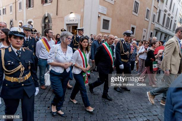 The Mayor of Rome Virginia Ragii during the Solemn celebrations and procession in honor of Madonna del Carmine Our Lady of Roman Citizens called 'de...