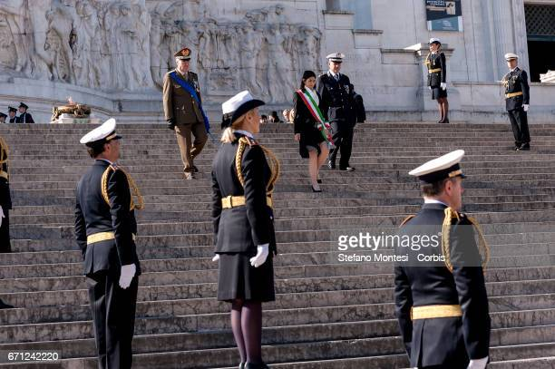 The Mayor of Rome Virginia Rays lays a laurel wreath at the unknown soldier for the 2770th anniversary of the founding of Rome in Piazza Venezia on...