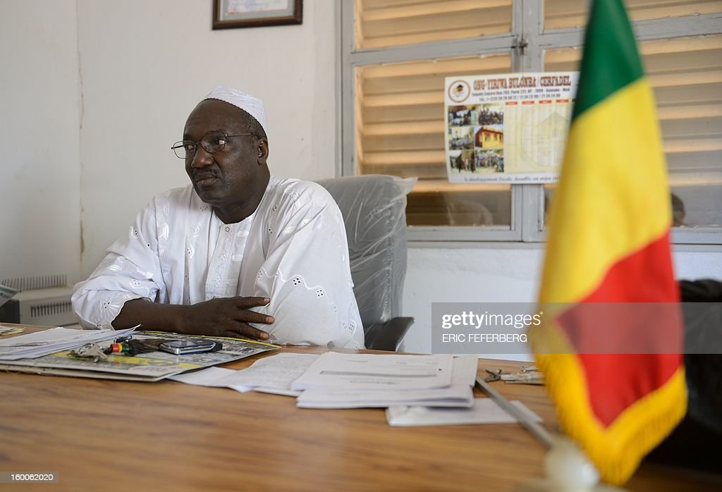 The Mayor of Serribala, Baba Diarra, speaks at his office in Siribala, 20 kms from Niono, on January 25, 2013, after two Malian people were shot dead in the city on January 24 allegedly by the Malian Army. French and Malian troops advanced on the key Islamist stronghold of Gao after recapturing the northern town of Hombori as the extremists bombed a strategic bridge to thwart a new front planned in the east. The French-led assault against the radical Islamists controlling northern Mali entered its third week with a strong push into the vast semi-arid zone amid rising humanitarian concerns for people in the area facing a dire food crisis.