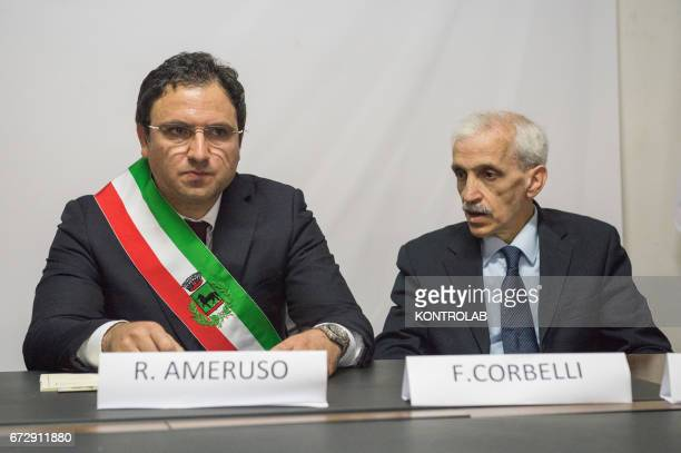 The mayor of Tarsia Roberto Ameruso and Franco Corbelli leader of the Civic Rights Movement and promoter of the initiative during the official...