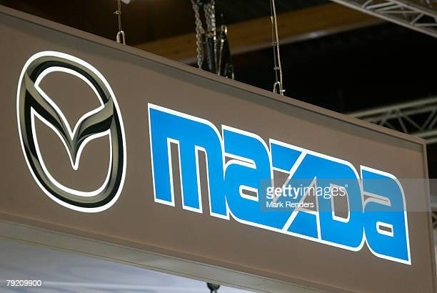 The Mazda corporate logo is seen at the International Car Show at Heysel on January 22 2008 in Brussels Belgium