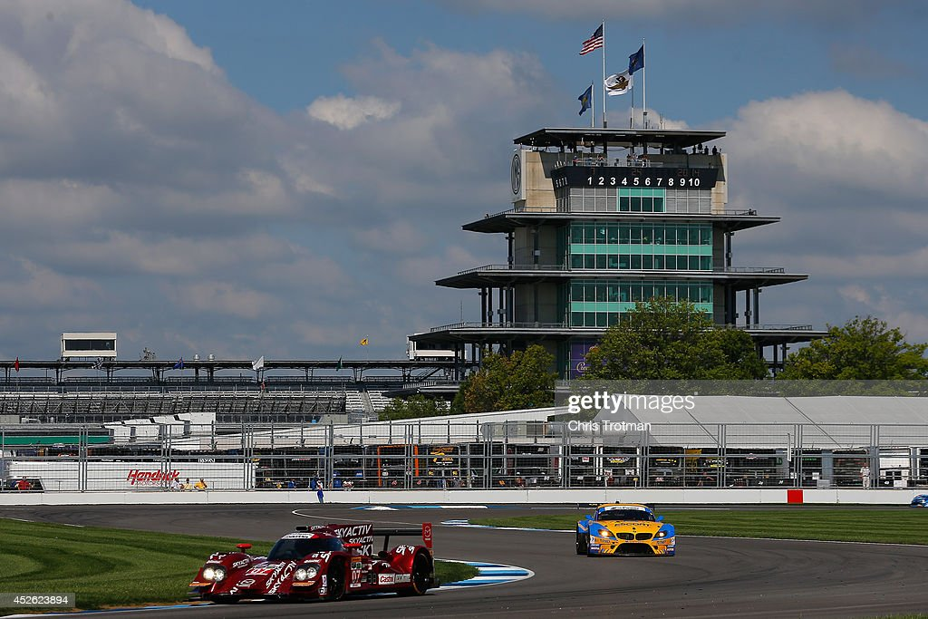 The #07 Mazda Prototype of Joel Miller and Tristan Nunez is shown in action during practice for the TUDOR United SportsCar Championship Brickyard Grand Prix at Indianapolis Motor Speedway on July 24, 2014 in Indianapolis, Indiana.