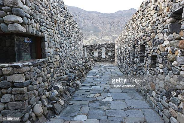 The MBC radio station's walls are built using rocks found locally in the Mustang region on May 28 2014 in Jomsom Nepal The Mustang Broadcasting...