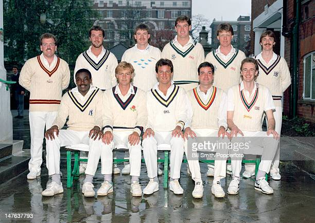 The MCC team prior to their match against Nottinghamshire the reigning County champions at Lord's cricket ground in London 16th April 1988 Back row...
