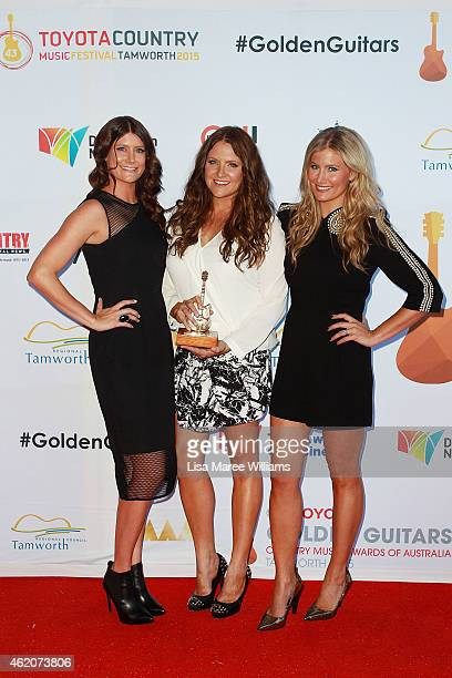 The McClymonts Mollie McClymont Brooke McClymont and Sam McClymont arrive at the 43rd Golden Guitar Country Music Awards of Australia on January 24...