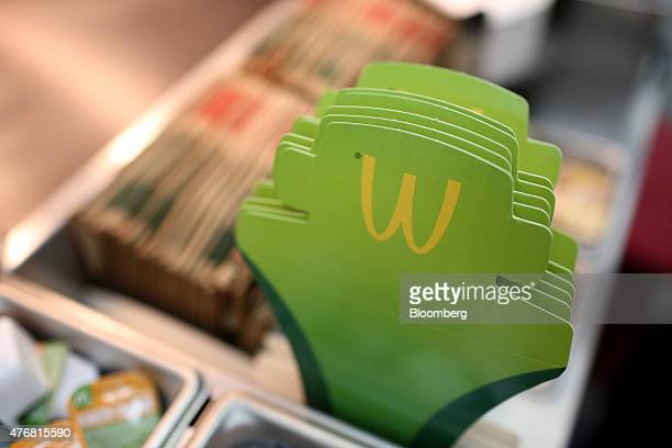The McDonald's logo sits on food packaging at McDonald's Corp's 505th Russian fast food restaurant on its opening day at the Central Children's Mall...