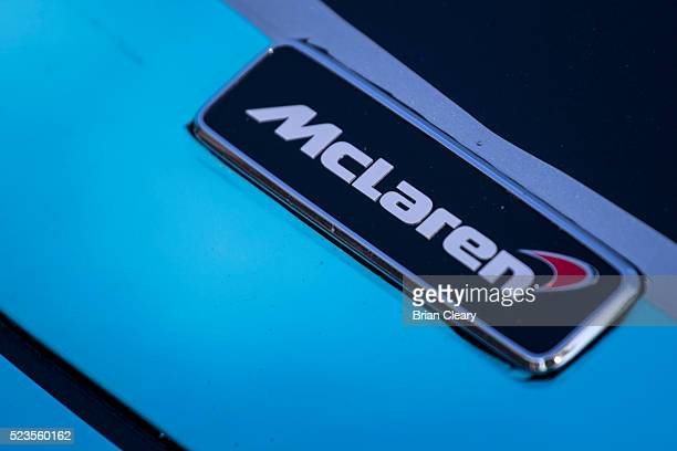The McLaren logo emblem is displayed on a race car in the paddock before the Pirelli World Challenge GT race at Barber Motorsports Park on April 23...
