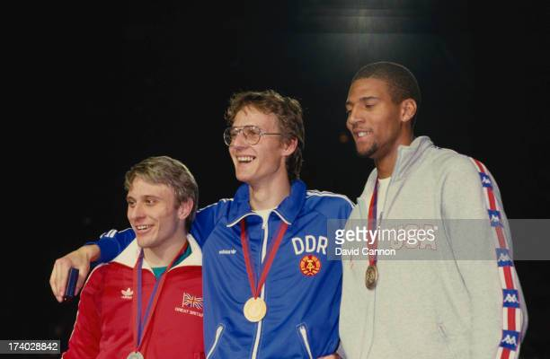 The medalists in the Men's 400 metres at the World Indoor Championships at the Palais Omnisports de ParisBercy Paris January 1985 Left to right Todd...