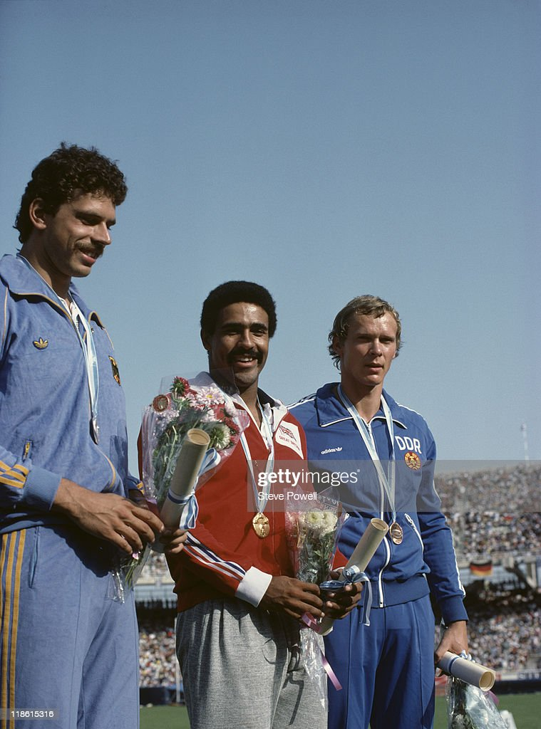 The medallists in the Men's Decathlon at the European Athletics Championships at the Olympic Stadium in Athens, Greece, September 1982. Left to right: Jurgen Hingsen of West Germany (silver), Daley Thompson of Great Britain (gold) and Siegfried Stark of East Germany (bronze).