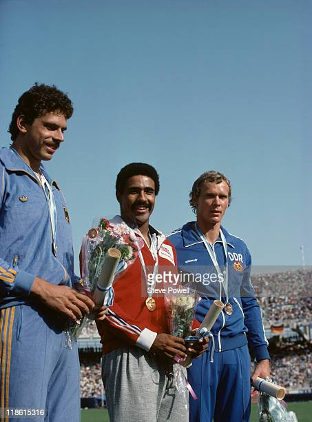 The medallists in the Men's Decathlon at the European Athletics Championships at the Olympic Stadium in Athens Greece September 1982 Left to right...