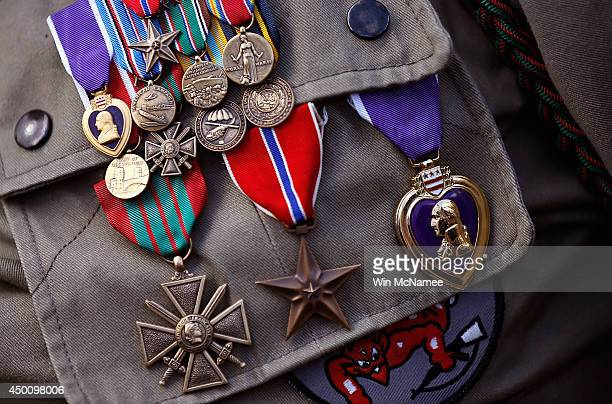 The medals of George Shenkle a 93yearold World War II veteran with the 82nd Airborn Division are shown during a ceremony honoring those who fought in...