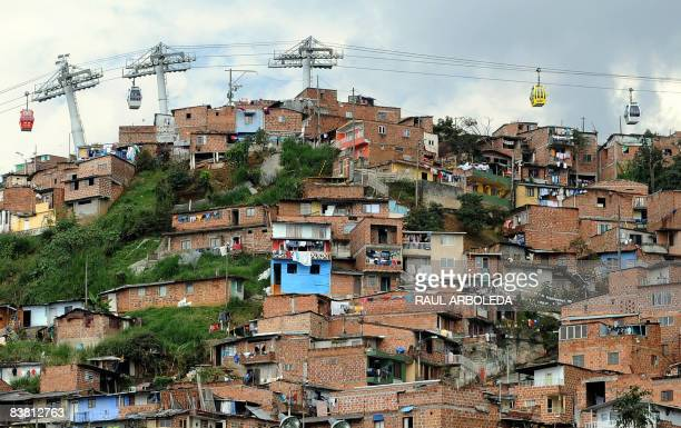 The Medellin aerial tramway is seen on November 18 at a low income neighborhood in Medellin Antioquia department Colombia A similar service will be...