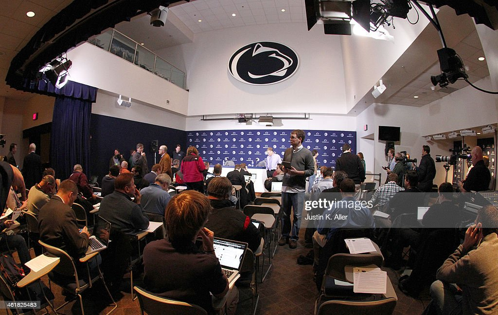 The media awaits the arrival of new Penn State head coach, James Franklin (not pictured) on January 11, 2014 at Beaver Stadium in State College, Pennsylvania.