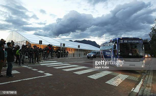 The media cover the arrival of the team bus for a closed Japan training session at Outeniqua Stadium on June 8 2010 in George South Africa