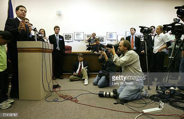 The media covers Sen Sam Brownback as he announces an end to his presidential bid October 19 2007 in Topeka Kansas Sen Brownback stated he ran out of...