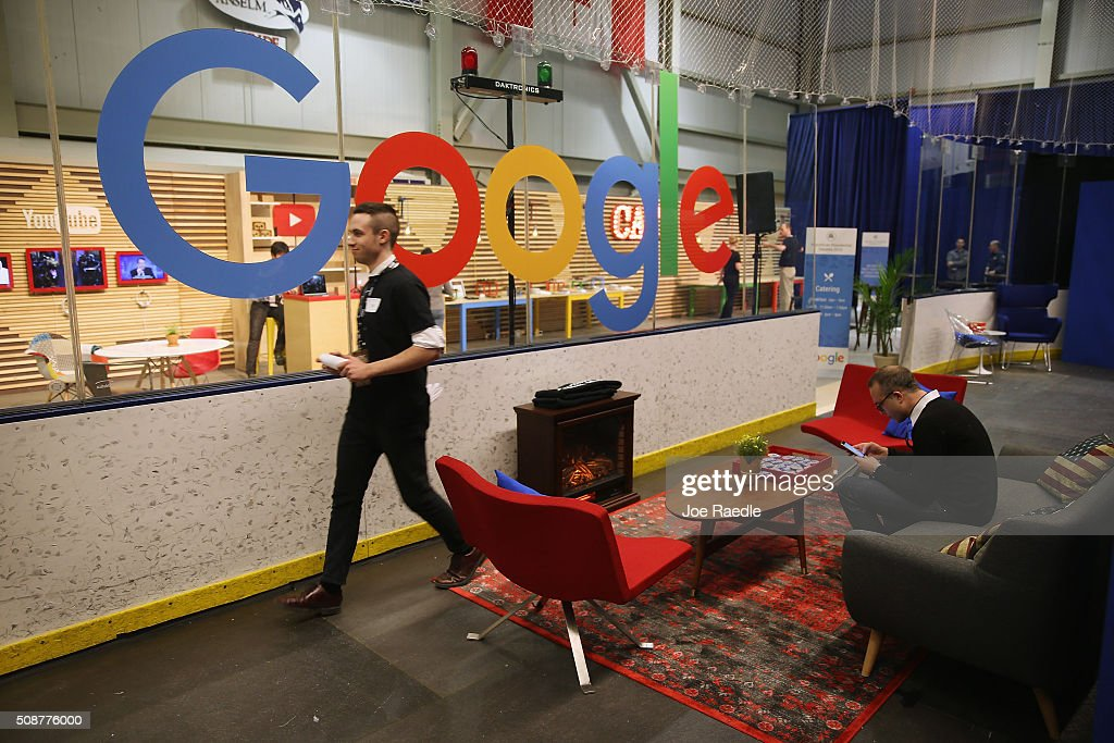 The media filing center for the Republican presidential debate at St. Anselm College includes a living room complete with electric fireplace and sofas and a Google lounge and cafe February 6, 2016 in Manchester, Iowa. Sponsored by ABC News, the Independent Journal Review and Google, this is the final televised debate before voters go to the polls in the 'First in the Nation' New Hampshire primary.