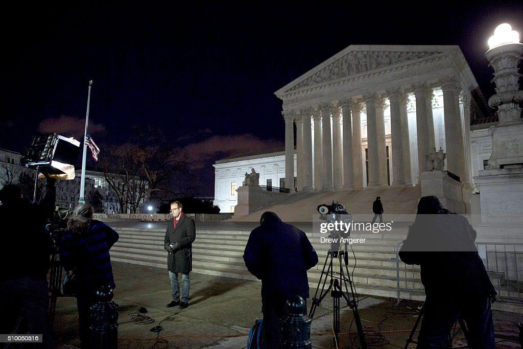 The media gathers in front of the U.S. Supreme Court February 13, 2016 in Washington, DC. Supreme Court Justice Antonin Scalia was at a Texas Ranch Saturday morning when he died at the age of 79.