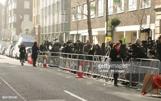 The media outside the King Edward VII Hospital in London where Queen Elizabeth II is continuing her recovery after being admitted with symptoms of...