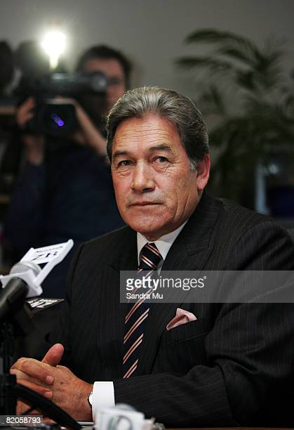 The media spotlight shines on the Rt Hon Winston Peters leader of the New Zealand First party during a press conference at New Zealand First Auckalnd...