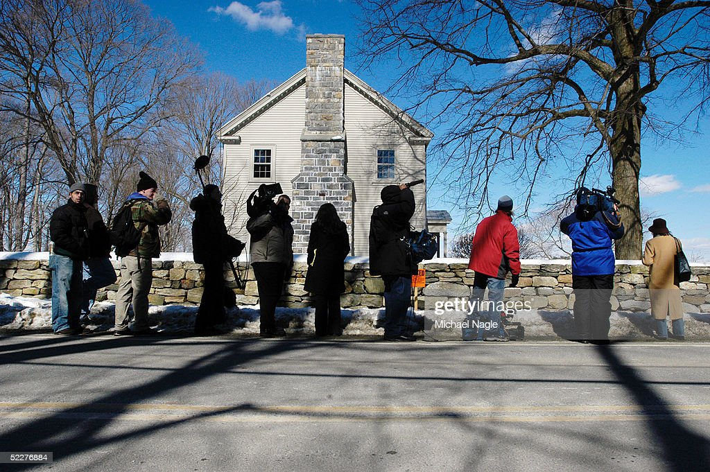 The media stands in front of Martha Stewart's estate March 4, 2005in Katonah, New York. Stewart was released from prison early in the morning March 4 and is under house arrest for five more months.