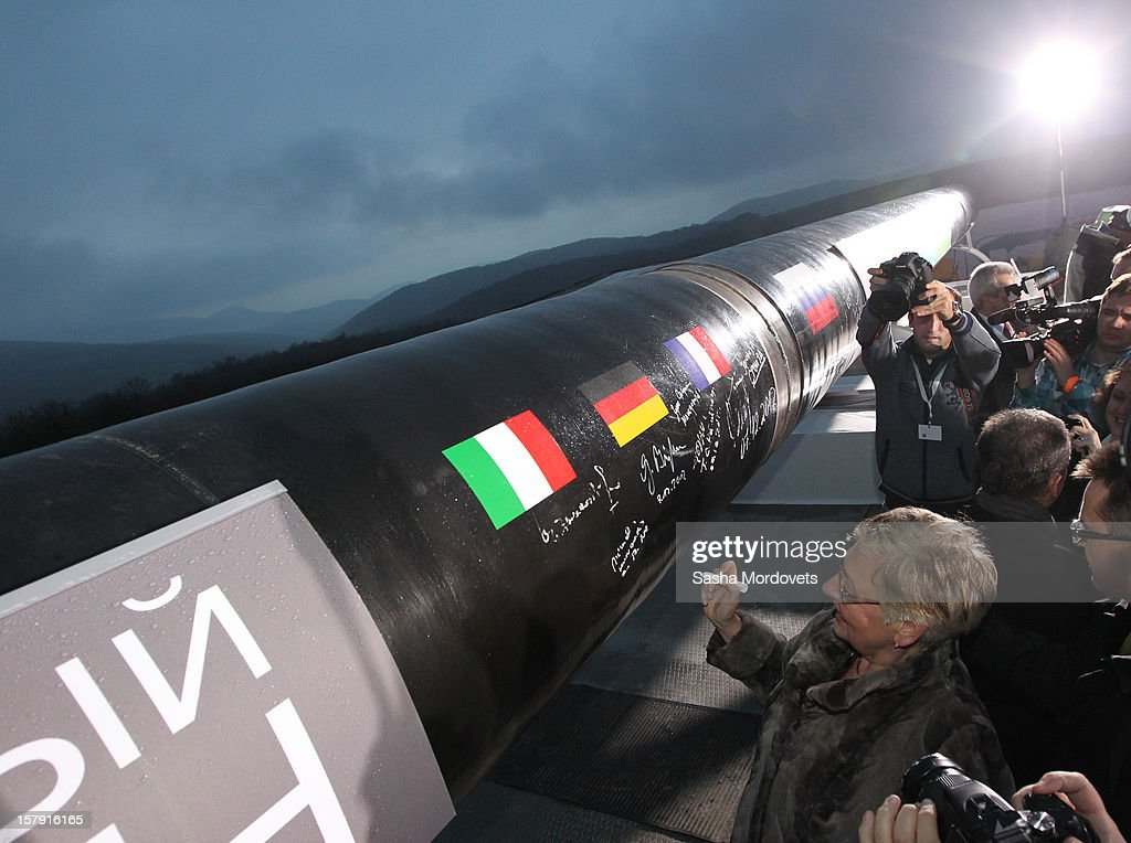 The media take photos at the construction site of the South Stream, a proposed gas pipeline on December 7, 2012 in Anapa, Russia. The pipeline will transport Russian natural gas through the Black Sea to Bulgaria, Greece, Italy and Austria.
