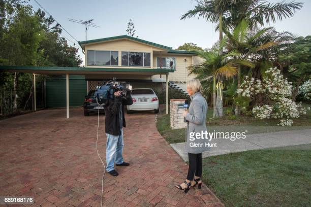 The media waits for the arrival of Schapelle Corby at her family's home on May 28 2017 in Brisbane Australia Corby was arrested in 2004 for...
