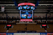 The mediakub prior to the Champions Hockey League round of thirtytwo game between HV71 Jonkoping and Ocelari Trinec on October 6 2015 in Jonkoping...