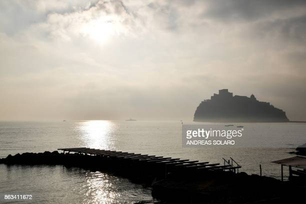 The medieval Aragonese Castle is pictured from Punta Molino Hotel in Ischia island within a working session at the G7 summit of Interior Ministers...