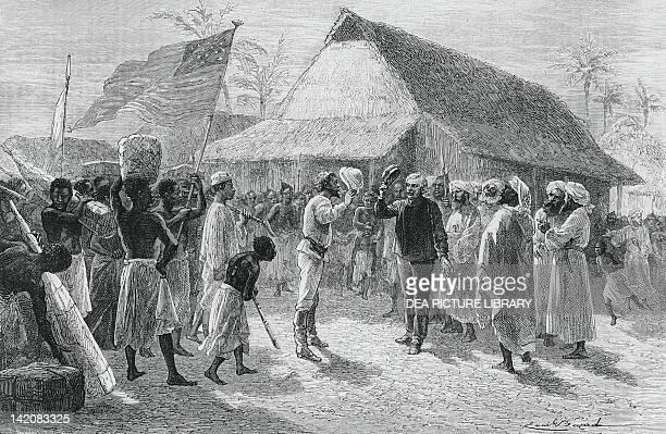 The meeting of David Livingstone and Henry Morton Stanley on Lake Tanganyika November 3 drawing by Emile Bayard 19th Century