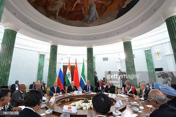 The meeting of the heads of BRICS delegations during the G20 summit on September 6 2013 in St Petersburg Russia Leaders of the G20 nations made...