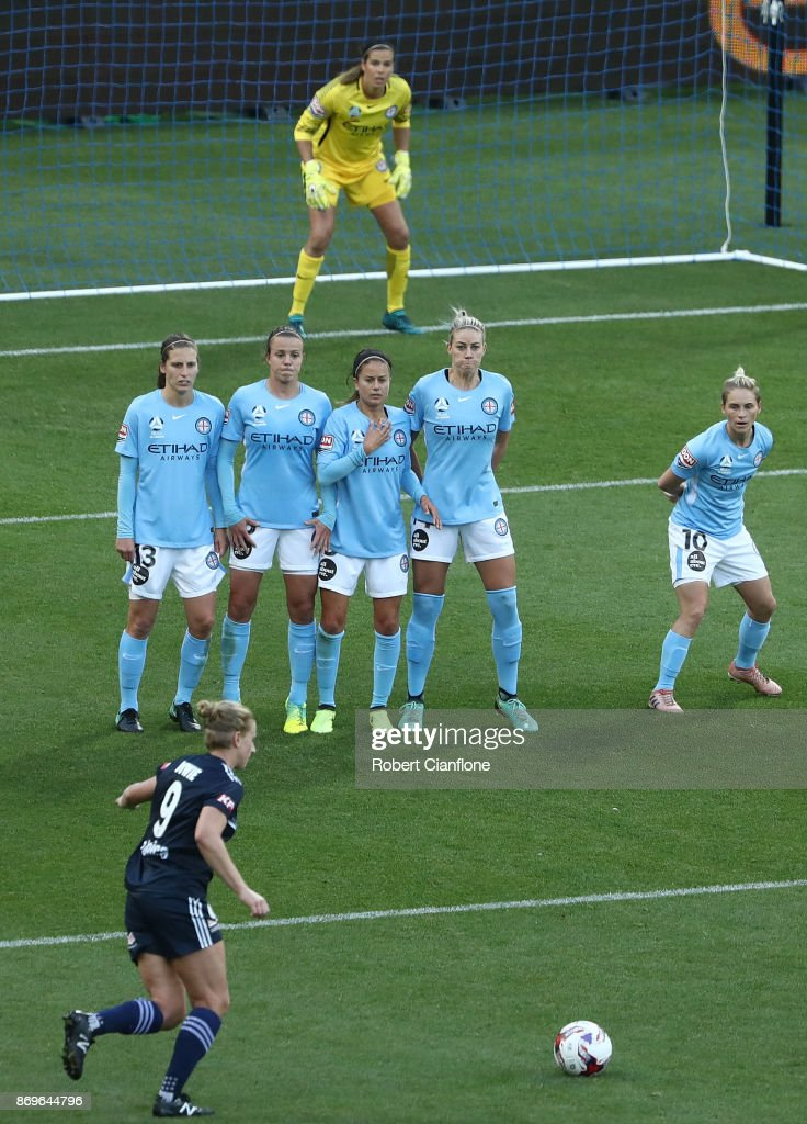 The Melbourne City defensive wall look on as Natasha Dowie of the Victory takes a free kick during the round two W-League match between Melbourne City FC and Melbourne Victory at AAMI Park on November 3, 2017 in Melbourne, Australia.