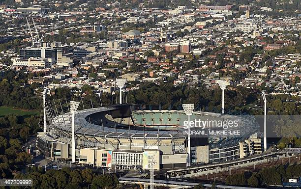 The Melbourne Cricket Ground is seen in this aerial view taken in Melbourne on March 21 2015 The MCG will host the 2015 Cricket World Cup final match...