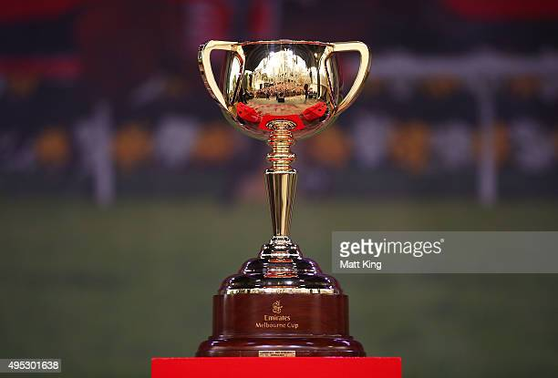 The Melbourne Cup sits on display during the 2015 Melbourne Cup Parade on November 2 2015 in Melbourne Australia