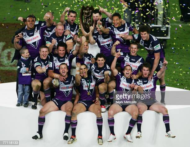 The Melbourne Storm team celebrate victory after the NRL Grand Final match between the Melbourne Storm and the Manly Warringah Sea Eagles at Telstra...