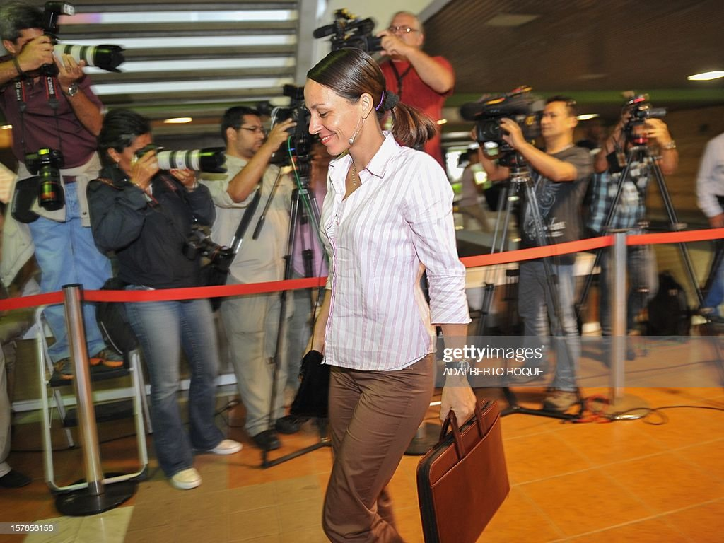The member of FARC-EP leftist guerrillas delegation Dutch Tanja Nijmeijer arrives at the Convention Palace in Havana for the peace talks with the Colombian government, on December 5, 2012.