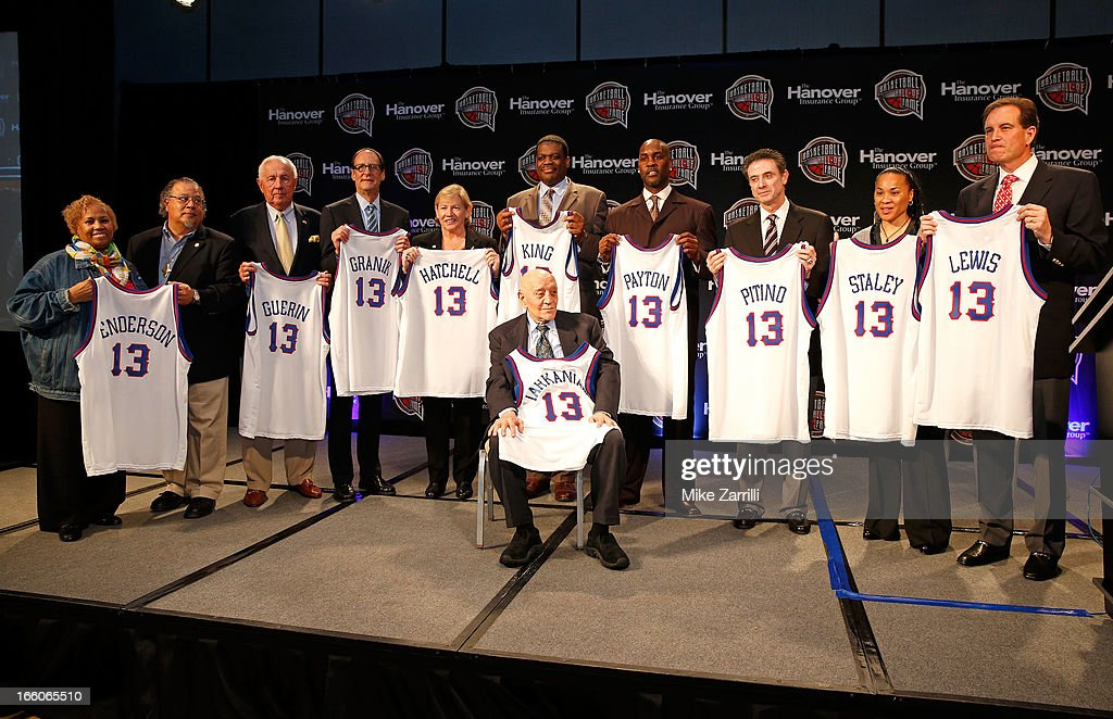 The members and representatives of the 2013 Naismith Memorial Basketball Hall of Fame class, (L to R): Edwin and Nikki Henderson hold the jersey of E.B. Henderson, Richard Guerin, Russ Granik, Sylvia Hatchell, <a gi-track='captionPersonalityLinkClicked' href=/galleries/search?phrase=Bernard+King&family=editorial&specificpeople=214248 ng-click='$event.stopPropagation()'>Bernard King</a>, <a gi-track='captionPersonalityLinkClicked' href=/galleries/search?phrase=Gary+Payton&family=editorial&specificpeople=201500 ng-click='$event.stopPropagation()'>Gary Payton</a>, <a gi-track='captionPersonalityLinkClicked' href=/galleries/search?phrase=Rick+Pitino&family=editorial&specificpeople=210871 ng-click='$event.stopPropagation()'>Rick Pitino</a>, <a gi-track='captionPersonalityLinkClicked' href=/galleries/search?phrase=Dawn+Staley&family=editorial&specificpeople=209196 ng-click='$event.stopPropagation()'>Dawn Staley</a> and Jim Nance holds the jersey Guy Lewis at Marriott Marquis on April 8, 2013 in Atlanta, Georgia.