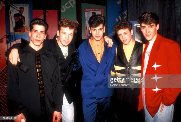 The members from the rock group New Kids on the Block Joe McIntyre Donnie Wahlberg Jon Knight Danny Wood and Jordan Knight