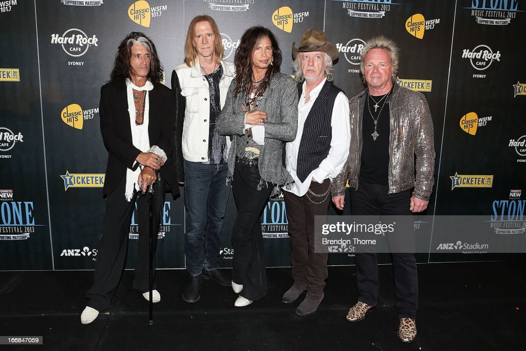 The members of Aerosmith pose during the 2013 Stone Music Festival press conference on April 18 2013 in Sydney Australia