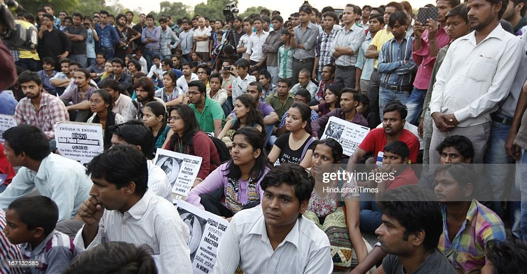 The members of AISA protesting against the Gandhi Nagar Rape case at Rajpath on April 21, 2013 in New Delhi, India. A five year girl went missing on April 15 and was found on April 17 in same building where she lives with her parents in Gandhi Nagar. She was found in serious condition after being brutally raped and tortured with slashed neck and bite marks on her body. The man who lives in that room was arrested in Bihar state on April 20.