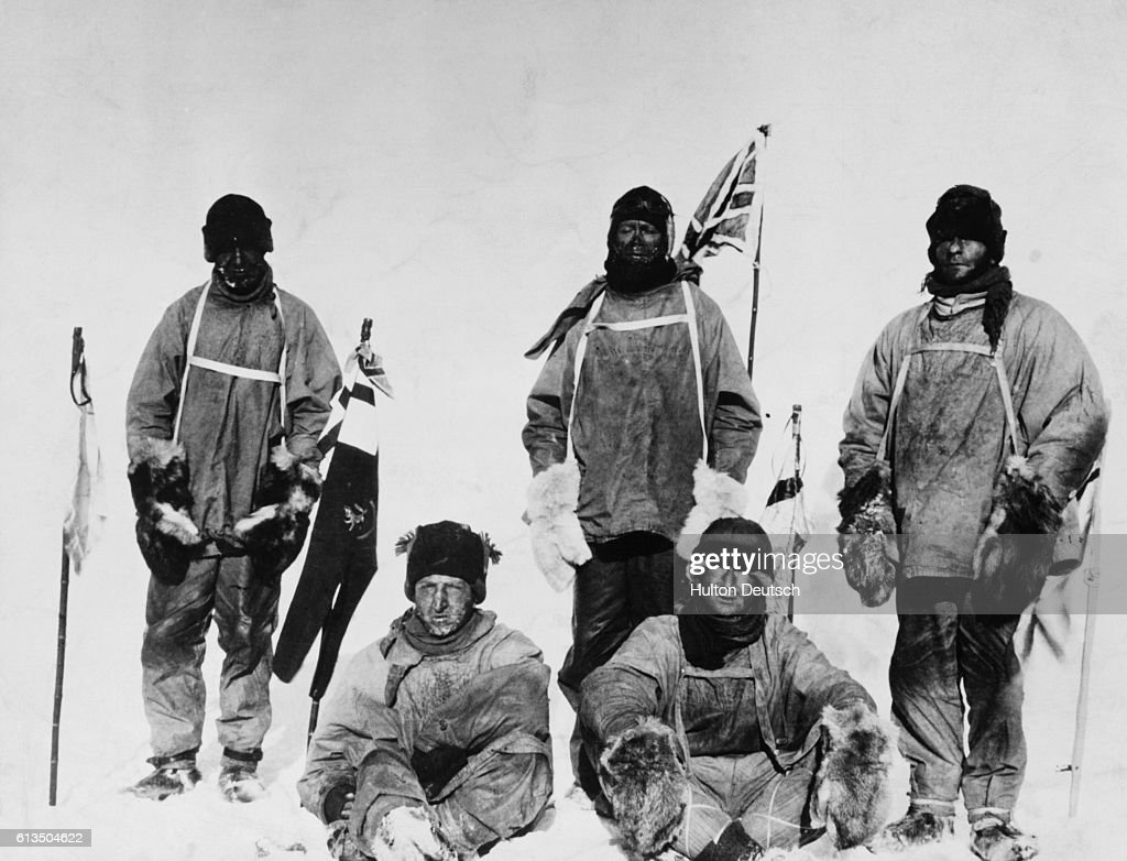 The members of Captain Scott's ill-fated expedition to the South Pole, (l to r) Laurence Oates, H.R. Bowers, Robert Scott, Edward Wilson and Edgar Evans. They reached the Pole a month after Roald Amundsen's Norwegian party, but all died on the return journey.