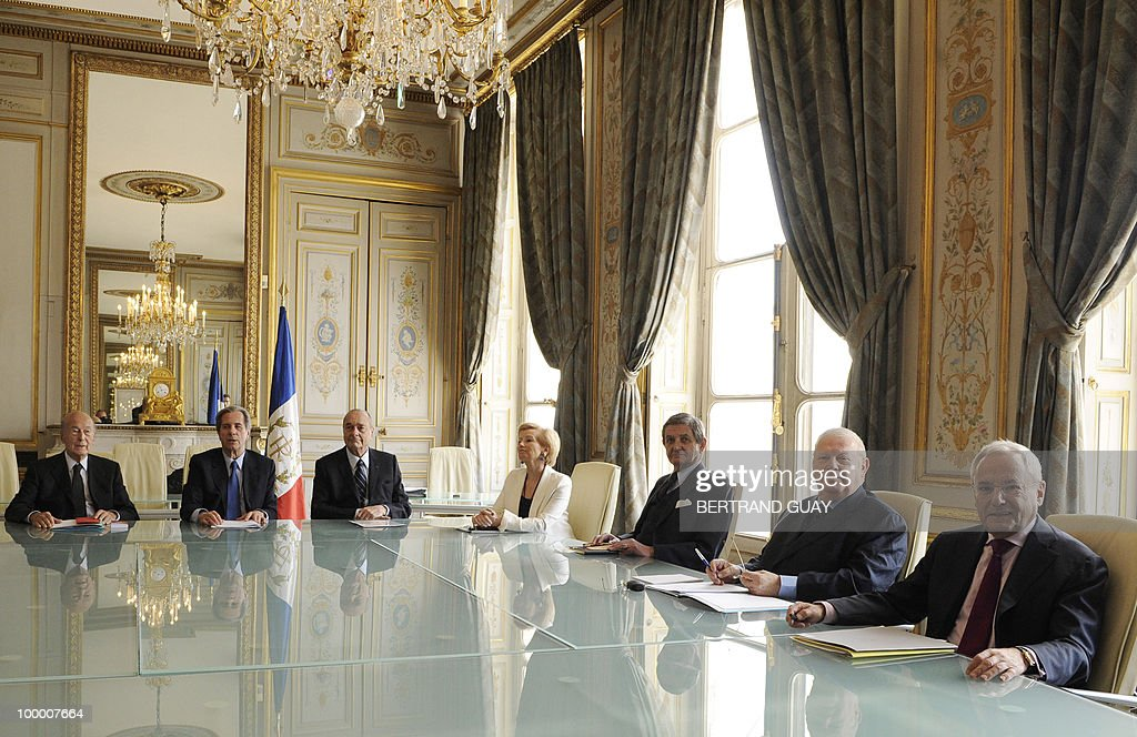 The members of French Constitutional Council (Conseil Constitutionnel) pose on May 20, 2010 at the Council in Paris. (From L) Valery Giscard d'Estaing, President Jean-Louis Debre, Jacques Chirac, Jacqueline de Guillenchmidt, Renaud Denoix de Saint Marc, Michel Charasse, and Jacques Barrot.