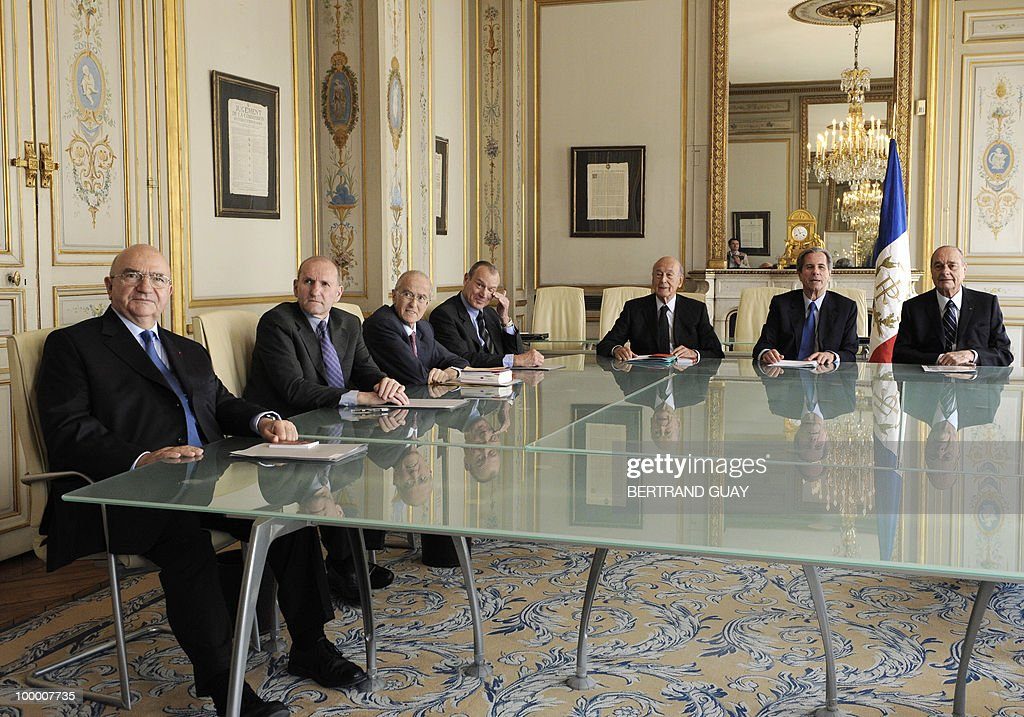 The members of French Constitutional Council (Conseil Constitutionnel) pose on May 20, 2010 at the Council in Paris. (From L) Hubert Haenel, Guy Canivet, Jean-Louis Pezant, Pierre Steinmetz, Valery Giscard d'Estaing, President Jean-Louis Debre, and Jacques Chirac.